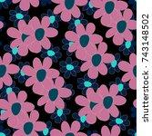floral seamless pattern. cute...   Shutterstock .eps vector #743148502