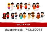 asians in national clothes.... | Shutterstock .eps vector #743150095