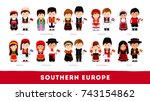 europeans in national clothes.... | Shutterstock .eps vector #743154862