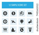 set of 12 editable mixed icons. ... | Shutterstock .eps vector #743161012