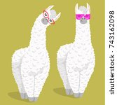 set of cute cartoon lama alpaca ... | Shutterstock .eps vector #743162098