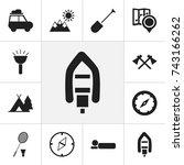 set of 12 editable camping... | Shutterstock .eps vector #743166262