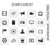set of 20 editable filming... | Shutterstock .eps vector #743167882