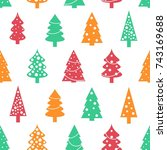 christmas wrapping paper design ... | Shutterstock .eps vector #743169688