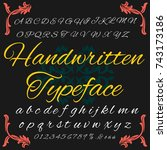 vector set of hand drown abc