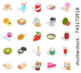 dainty icons set. isometric set ... | Shutterstock .eps vector #743173918