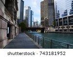 the chicago riverwalk provides... | Shutterstock . vector #743181952