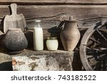 milk and sour cream vintage... | Shutterstock . vector #743182522
