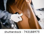 car wrapping specialist putting ... | Shutterstock . vector #743188975