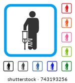 broken leg patient icon. flat... | Shutterstock .eps vector #743193256