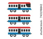 vintage train icon set ... | Shutterstock .eps vector #743198842
