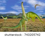 3D Illustration of Group of Dinosaurs in a Field
