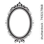oval frame and borders black... | Shutterstock .eps vector #743217868