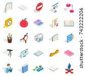academy icons set. isometric... | Shutterstock .eps vector #743222206