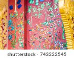 mosaic on the facade of the...   Shutterstock . vector #743222545