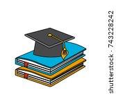 graduation cap with education... | Shutterstock .eps vector #743228242