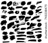 big set of vector grunge black... | Shutterstock .eps vector #743238475