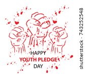 happy youth pledge day | Shutterstock .eps vector #743252548