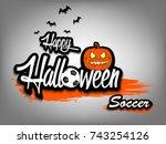 banner happy halloween and... | Shutterstock .eps vector #743254126