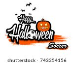 banner happy halloween and... | Shutterstock .eps vector #743254156