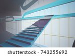 abstract dynamic interior with... | Shutterstock . vector #743255692
