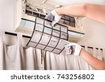 air conditioner with filter... | Shutterstock . vector #743256802