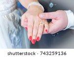 gold wedding ring couples hand... | Shutterstock . vector #743259136