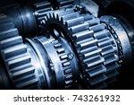 gear metal wheels close up | Shutterstock . vector #743261932