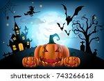 happy halloween background with ...   Shutterstock .eps vector #743266618