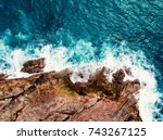 stunning aerial top view of sea ... | Shutterstock . vector #743267125