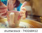 potter at work. instagram filter | Shutterstock . vector #743268412