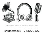 vintage void and music device... | Shutterstock .eps vector #743270122