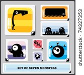 set of seven colorful monsters | Shutterstock .eps vector #74327353
