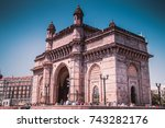gateway of india over blue sky  ... | Shutterstock . vector #743282176