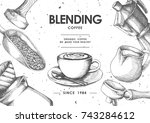 coffee product label by pen  ... | Shutterstock .eps vector #743284612
