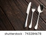 cutlery set with fork  knife... | Shutterstock . vector #743284678