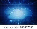 2d rendering cloud computing | Shutterstock . vector #743307355