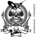 tattoo dj human skull and... | Shutterstock . vector #743316022