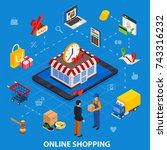 online shopping isometric... | Shutterstock . vector #743316232
