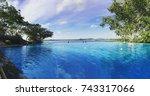 Small photo of Panoramic view of swimming pool in Heritance Kandalama in Sri Lanka