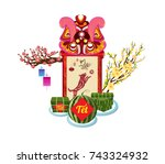cooked square glutinous rice... | Shutterstock .eps vector #743324932