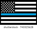 usa flag thin blue line morale... | Shutterstock .eps vector #743325628