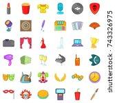 concert icons set. cartoon...   Shutterstock . vector #743326975