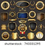 golden sale frame badge and... | Shutterstock .eps vector #743331295