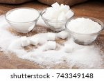 various types of sugar  white... | Shutterstock . vector #743349148