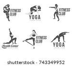 workout logo. fitness  aerobic... | Shutterstock .eps vector #743349952