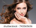 beauty woman portrait.... | Shutterstock . vector #743365636