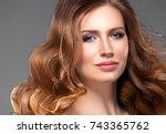 beauty woman portrait.... | Shutterstock . vector #743365762