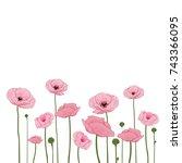 decorative poppy field... | Shutterstock .eps vector #743366095