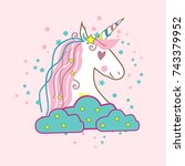 unicorn vector icon isolated on ...   Shutterstock .eps vector #743379952